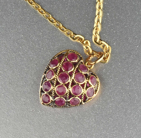 Vintage Ruby Puffy Heart 14K Gold Charm Necklace