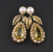Edwardian Pearl Studs and Citrine Earrings Jackets