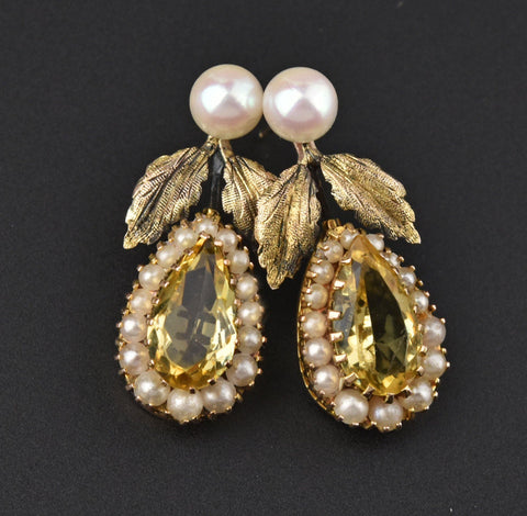 Antique Edwardian Pearl & Ruby Dangle Earrings