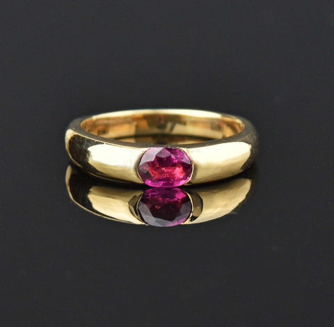 Vintage 18K Gold Natural Ruby Band Ring