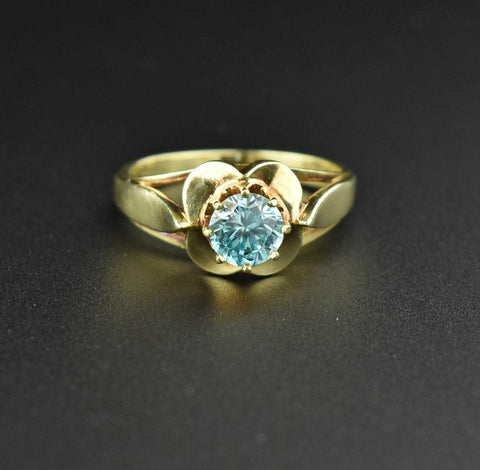 Vintage 14K Gold Buttercup Blue Zircon Ring