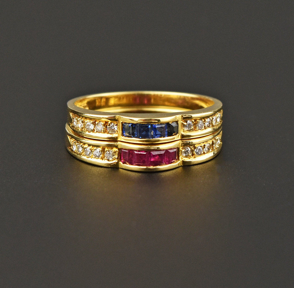 Diamond Ruby Sapphire 18K Gold Eternity Band Ring - Boylerpf