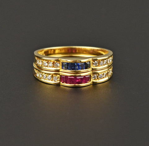 Diamond Ruby Sapphire 18K Gold Eternity Band Ring