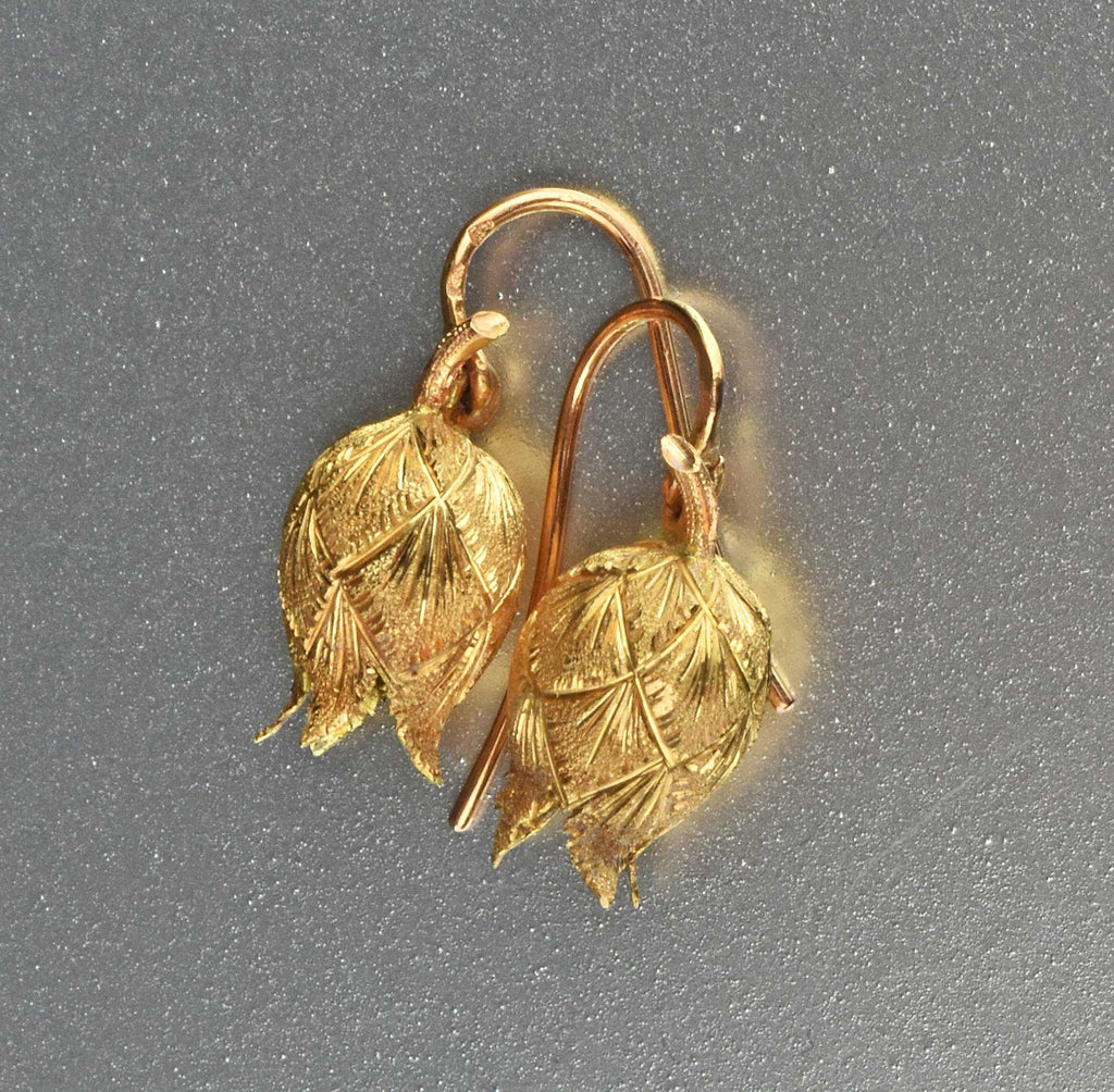 Antique French 14K Gold Lily of the Valley Earrings - Boylerpf