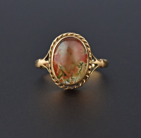 Edwardian Gold Moss Agate Cabochon Ring