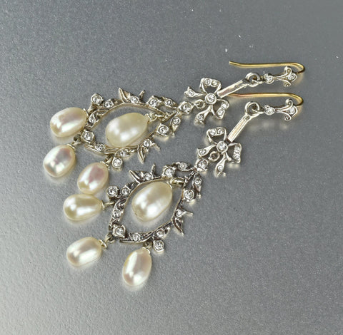 9K Gold & Silver Paste and Pearl Chandelier Drop Earrings