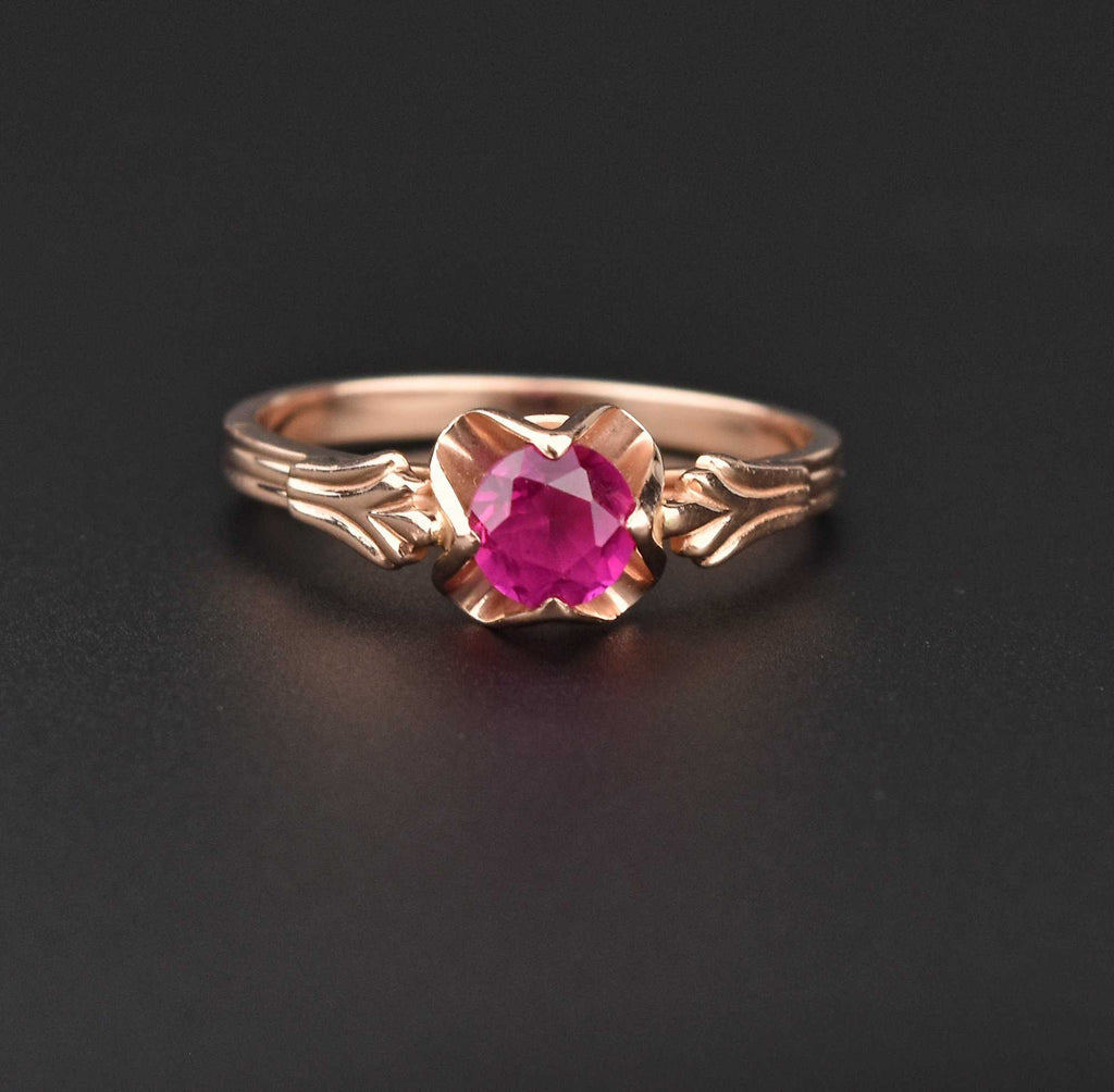 Russian 14K Gold Ruby Engagement Ring - Boylerpf