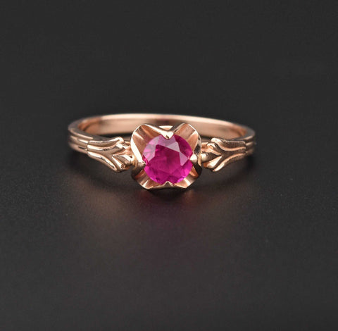 Russian 14K Gold Ruby Engagement Ring