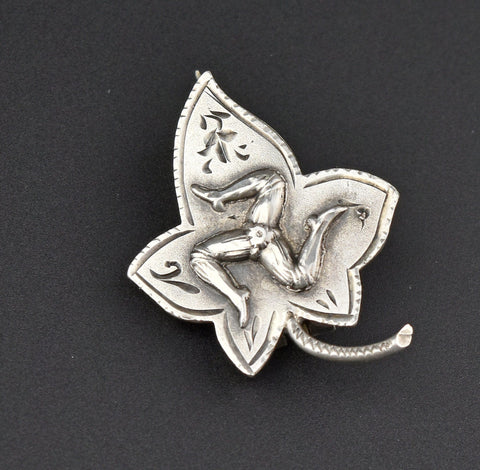Antique Silver Ivy Triskelion Brooch, Isle of Man