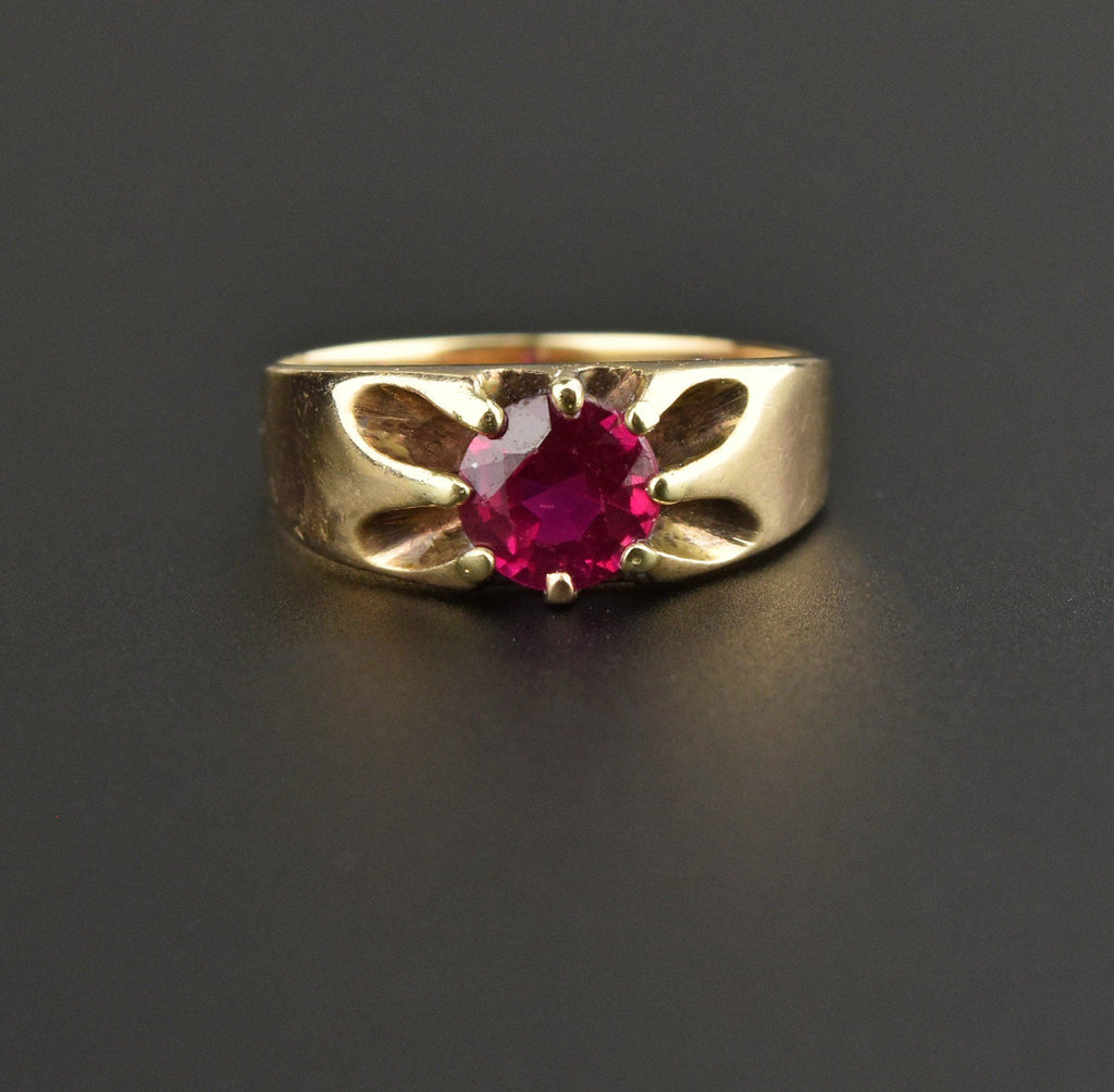 Antique Ruby 14K Gold Belcher Ring - Boylerpf