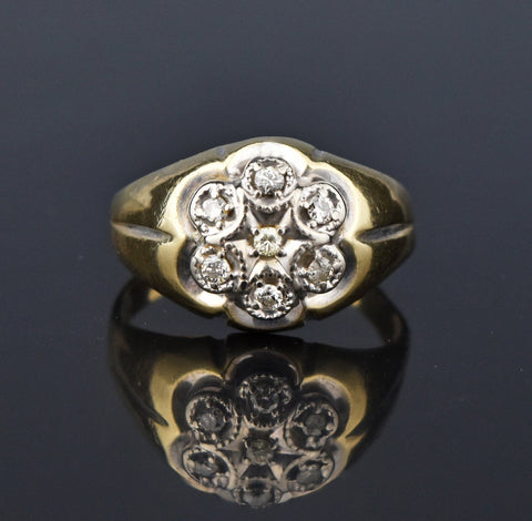 Tanzanite Diamond Daisy Cluster Gold Ring