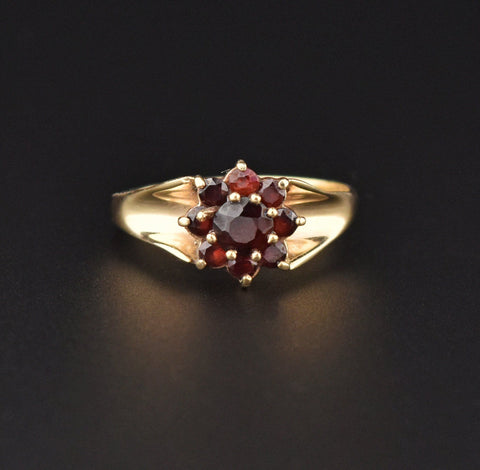 Gold Garnet Victorian Style Cluster Ring