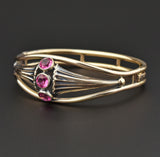 Art Nouveau Simulated Pink Tourmaline Bangle Bracelet - Boylerpf