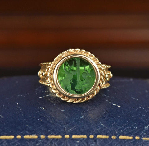 Italian 14K Gold Emerald Quartz Intaglio Ring - ON HOLD