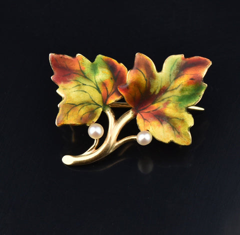 Art Nouveau 14K Gold Enamel Natural Pearl Brooch Pin