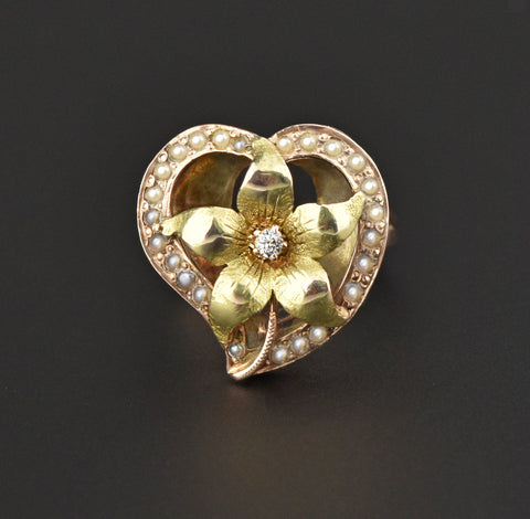 Diamond Witches Heart Forget Me Not Flower Ring