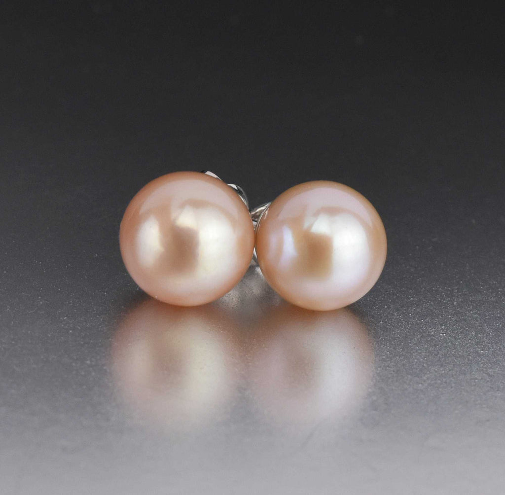 Cultured Pink Pearl 9mm Gold Stud Earrings - Boylerpf
