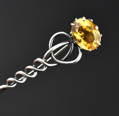 Antique Victorian Celtic Comet Style Citrine Brooch, 3.5 in.