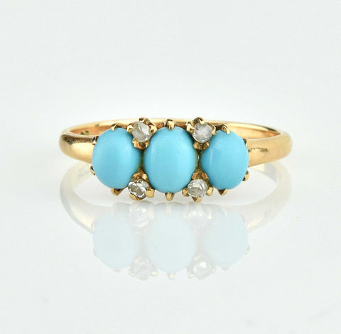 Vintage Gold Cabochon Persian Turquoise & Diamond Ring