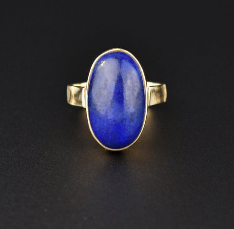 Vintage Lapis Lazuli Oval Cabochon Gold Ring