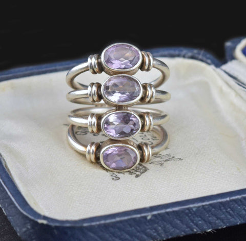 Sterling Silver 4 Row Stacking Amethyst Ring