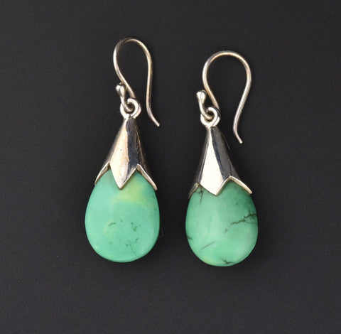 Silver Natural Turquoise Pendant Drop Earrings