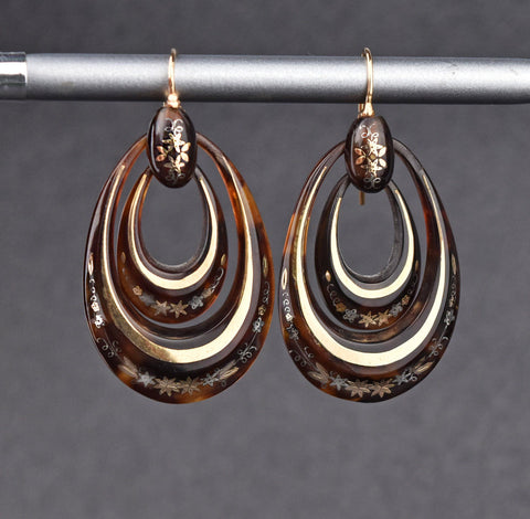Victorian Double Hoop 14K Gold Pique Earrings