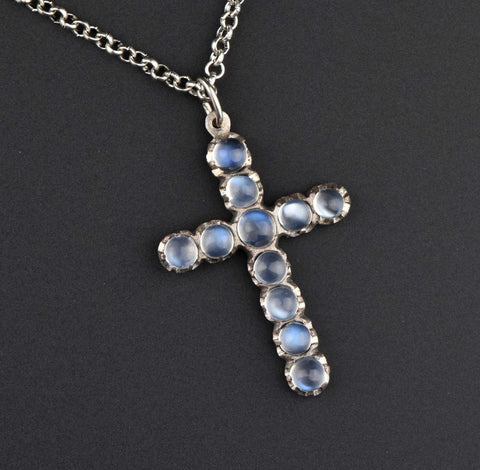 Antique Moonstone Cabochon Cross Necklace ON HOLD