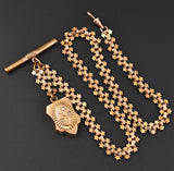 Fleur De Lis Albert Pocket Watch Chain w Moonstone Fob - Boylerpf