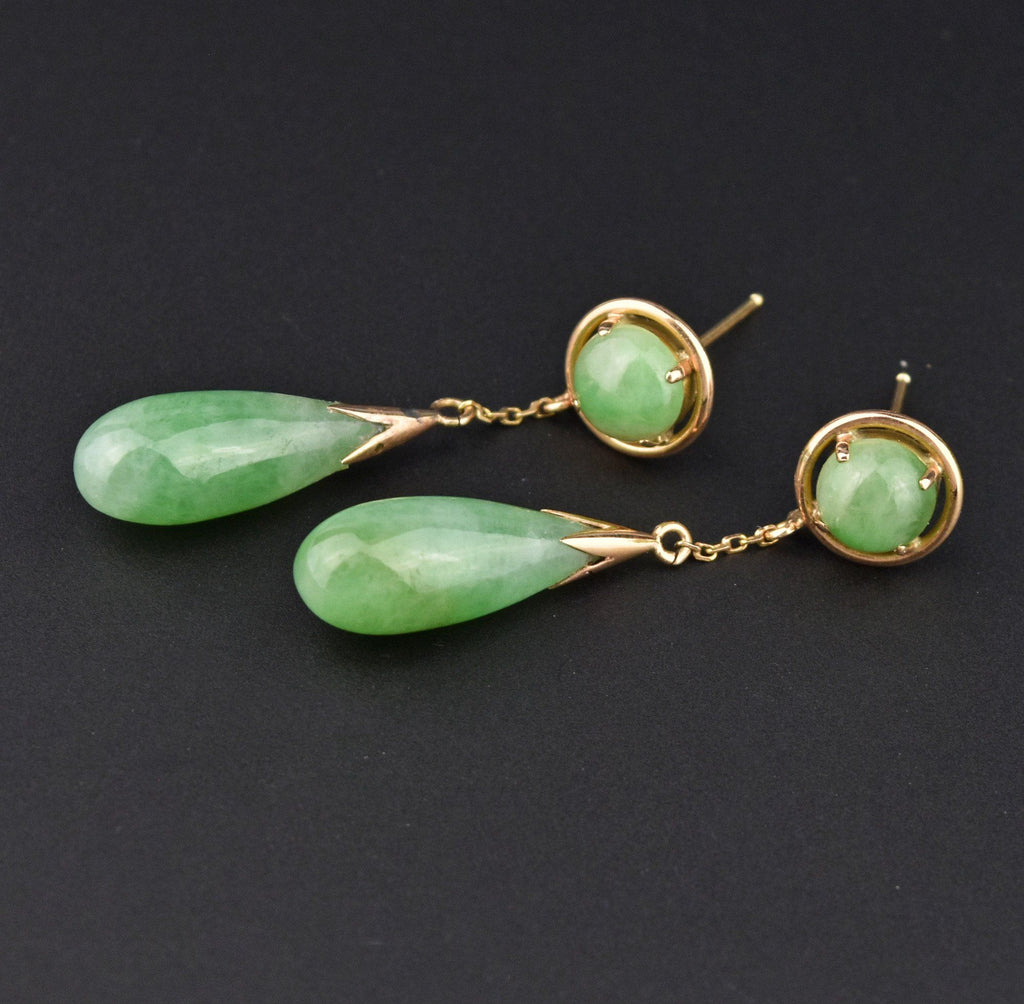 14K Gold Jade Long Teardrop Dangle Earrings - Boylerpf