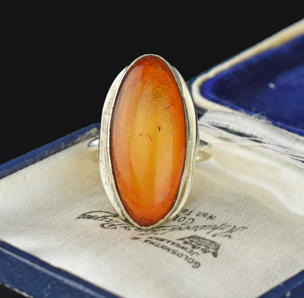 Baltic Amber Sterling Silver Statement Ring - Boylerpf