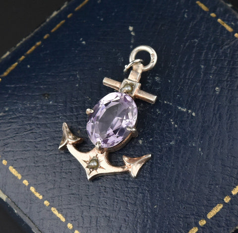 Victorian Amethyst Seed Pearl Anchor Charm Pendant