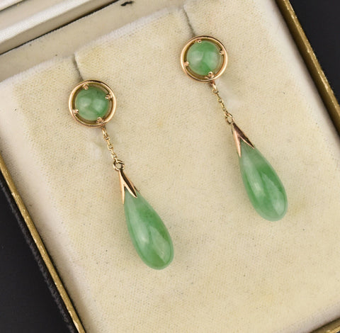 14K Gold Jade Long Teardrop Dangle Earrings