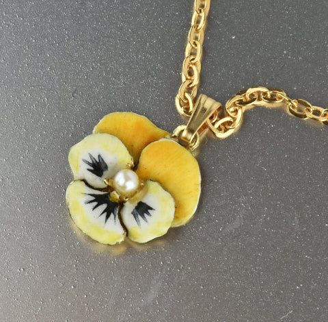 14K Gold Enamel Pansy Art Nouveau Pendant Necklace