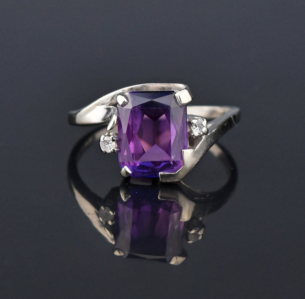 Color Change Sapphire White Gold Ring, Sz 9.75 - Boylerpf