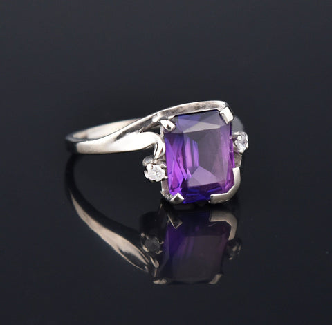 Color Change Sapphire White Gold Ring, Sz 9.75