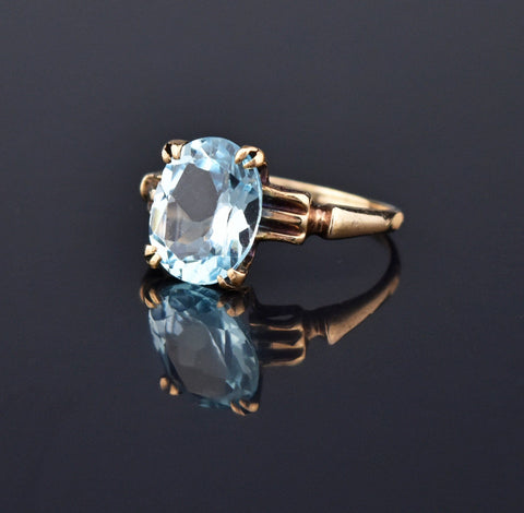 Deco Emerald Cut Blue Spinel 14K Gold Ring
