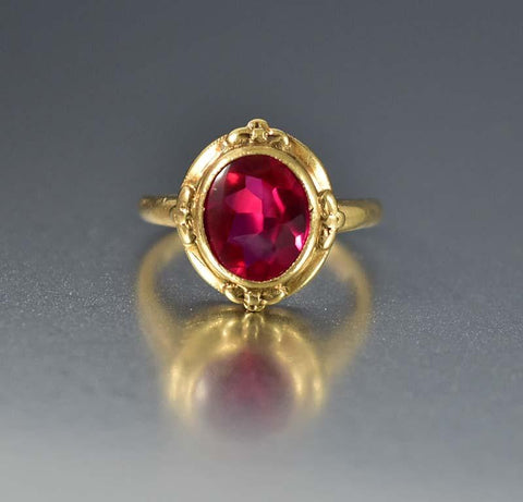 Vintage Art Deco Carnelian Diamond Gold Ring