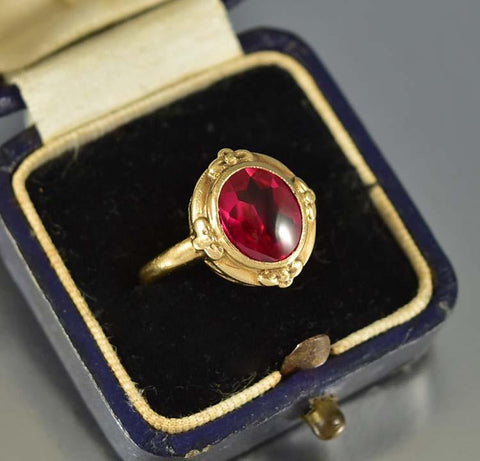 Art Deco 10K Yellow Gold Vintage Ruby Ring