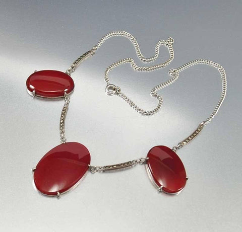 Art Deco Sterling Carnelian Marcasite Necklace