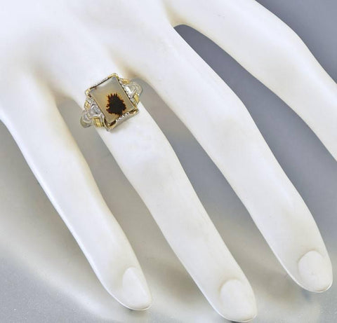Vintage Osby Barton Gold Silver Dendritic Agate Ring