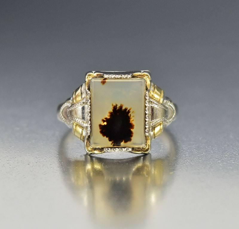 Vintage Osby Barton Gold Silver Dendritic Agate Ring - Boylerpf
