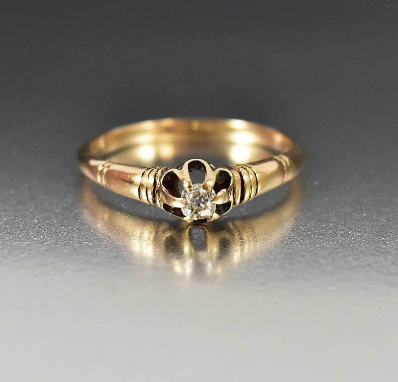 Gold Diamond Solitaire Victorian Engagement Ring - Boylerpf