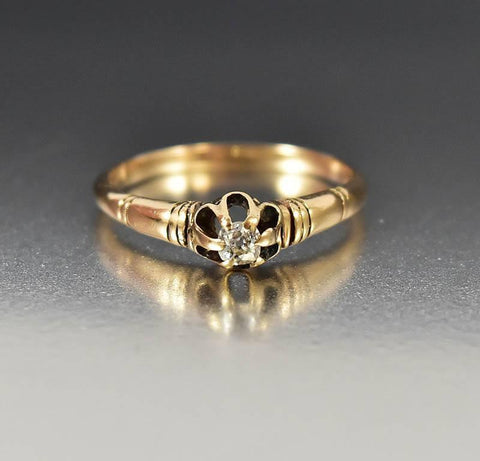 Gold Diamond Solitaire Victorian Engagement Ring
