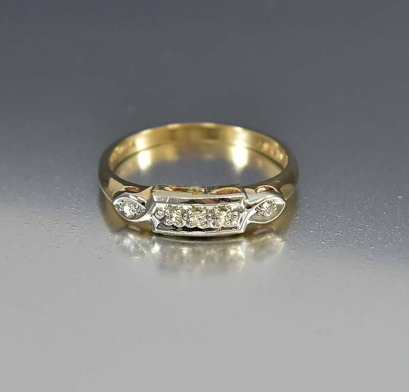 Art Deco Vintage 14K Gold Diamond Wedding Band Ring - Boylerpf