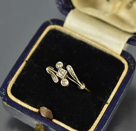 18K Gold Edwardian Diamond Engagement Ring