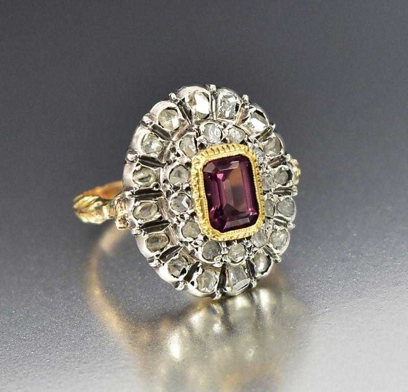 vintage unique cluster diamond antique engagement rings ring garnet victorian georgian media