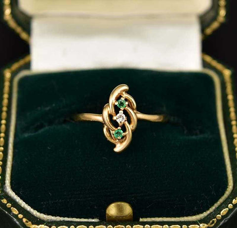 Final Payment Emerald and Diamond Gold Estate Ring - ON HOLD