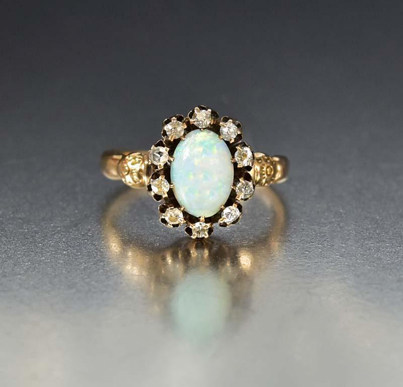 Edwardian Gold Diamond and Opal Ring - Boylerpf