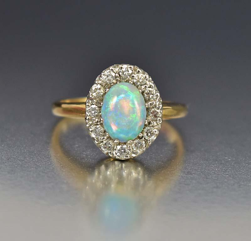 Estate 14K Gold Diamond Halo Opal Engagement Ring - Boylerpf